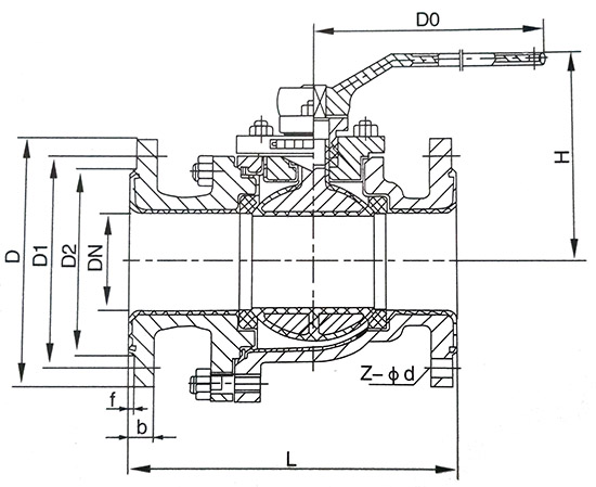 手动衬氟法兰wwwyabo124结构示意图