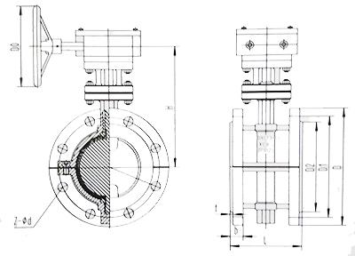 衬氟蝶阀结构示意图