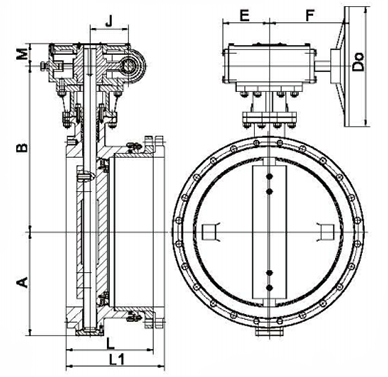 sd341x伸缩蝶阀结构示意图