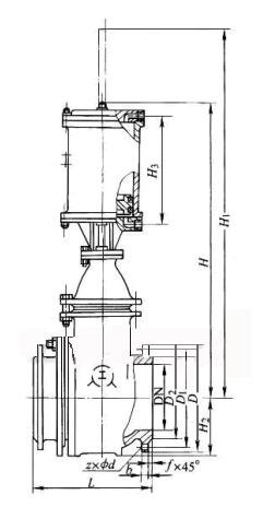 气动钢制排渣闸阀结构示意图