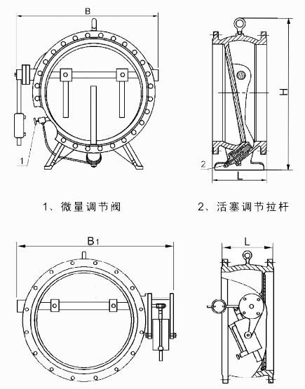 hh47h微阻缓闭消声止回阀结构示意图