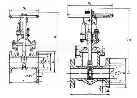 不锈钢闸阀结构示意图